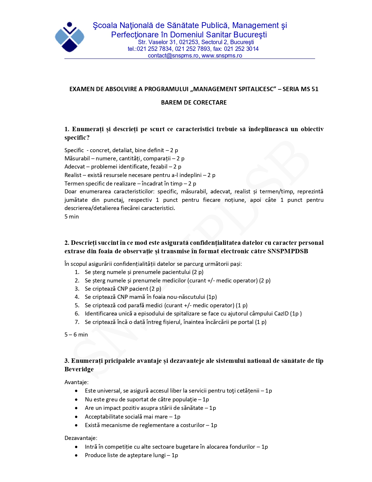 MS 51 – Program de Formare in Management Spitalicesc